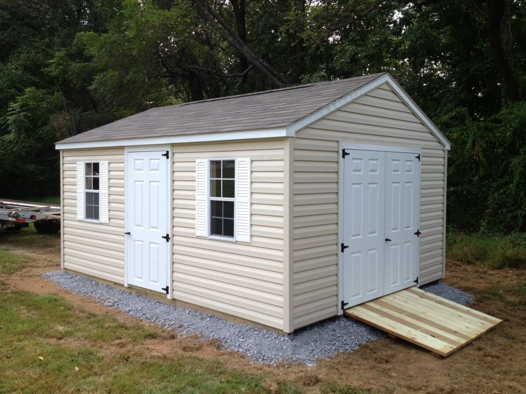 vinyl storage shed with gravel site preparation and ramp 4 outdoor