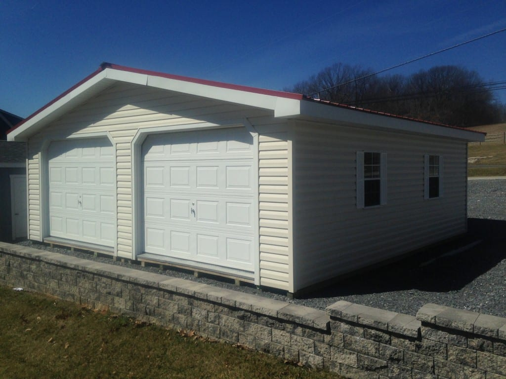 Two car modular garage built at the shop and delivered in two halves